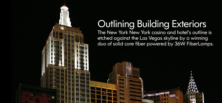 Outlining Building Exteriors - The New York New York casino and hotel's outline is etched against the Las Vegas skyline by a winning duo of solid core fiber powered by 36W FiberLamps.